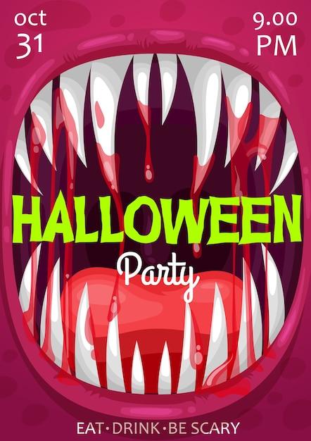 ホラーナイトパーティーの招待状のハロウィーン吸血鬼モンスタースクリームポスター Premiumベクター
