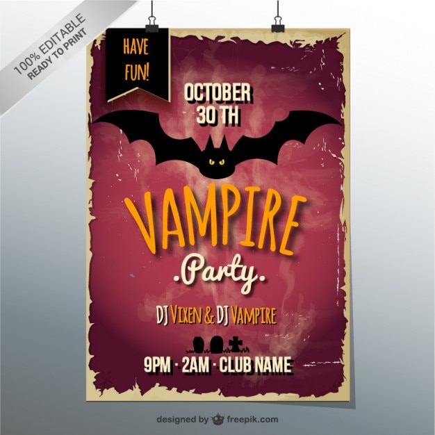 Halloween vampire party poster