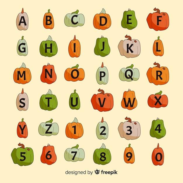 Хэллоуин разнообразие тыквы алфавит Бесплатные векторы