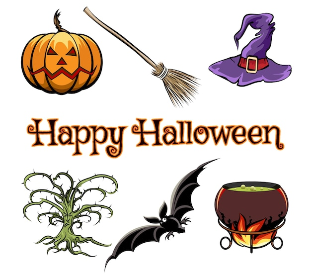 Halloween vector graphics elements with pumpkin, bat and witch hat Free Vector