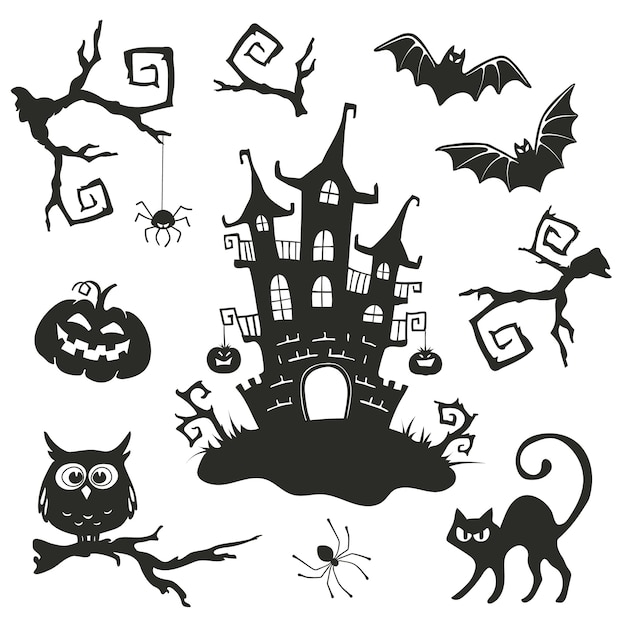Halloween vector objects Premium Vector