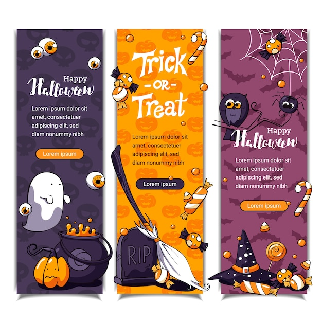 Halloween vertical banners with pattern and halloween elements Premium Vector