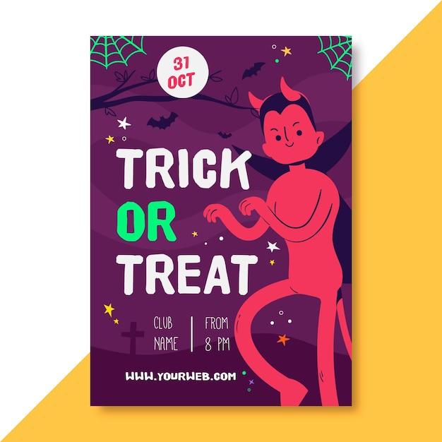 Хэллоуин вертикальный плакат шаблон Бесплатные векторы