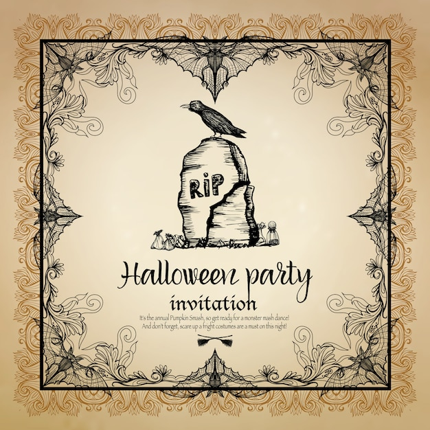 Halloween vintage invitation with frame Free Vector