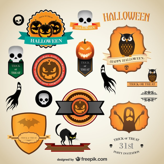Halloween vintage labels Free Vector