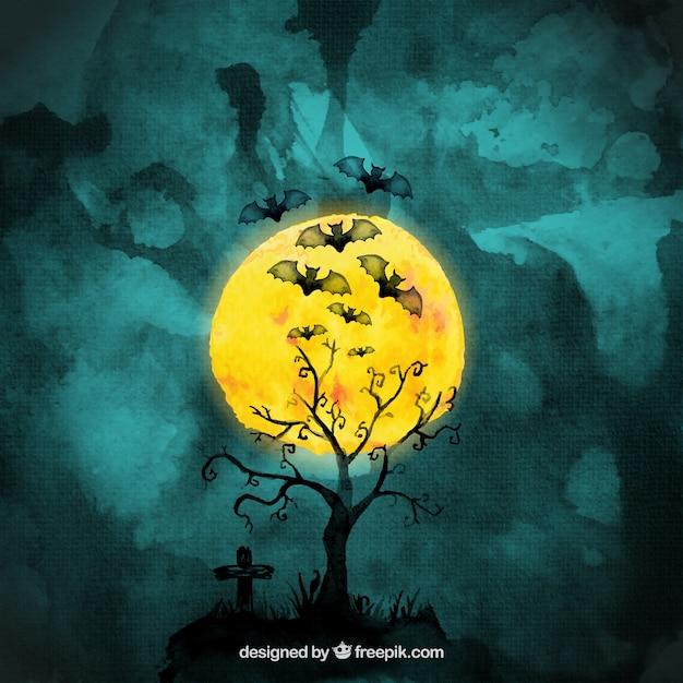 Halloween Watercolor Bats Vector | Premium Download