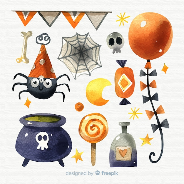 Halloween watercolor elements collection Free Vector