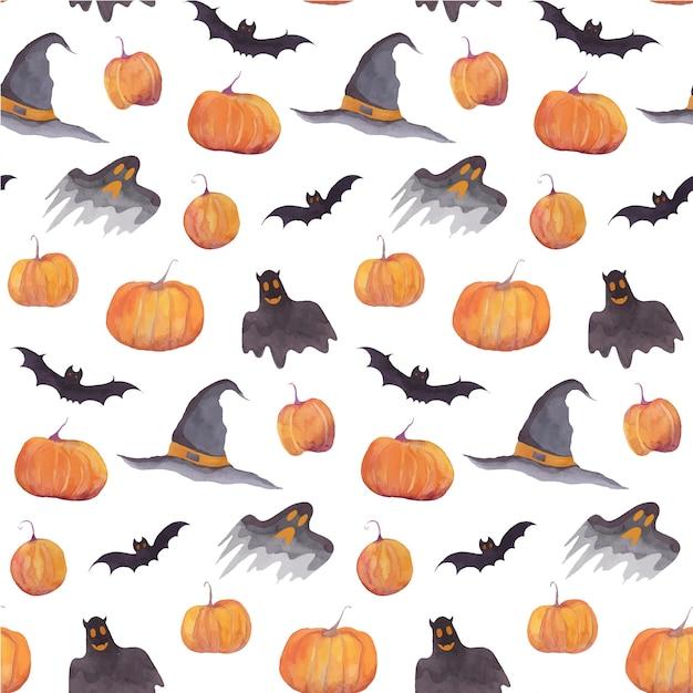 Halloween watercolor pattern with pumpkins Premium Vector