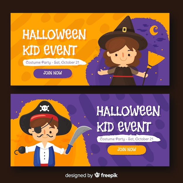 Halloween web banner collection with flat design Free Vector
