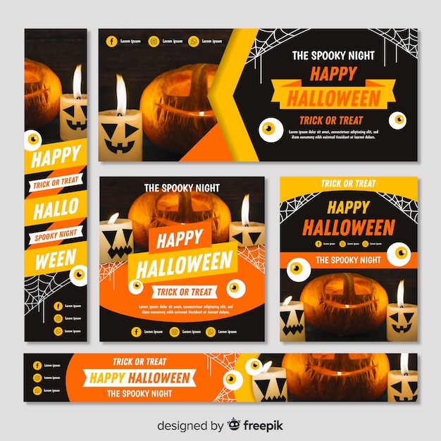 Halloween web banner collection with realistic design Free Vector