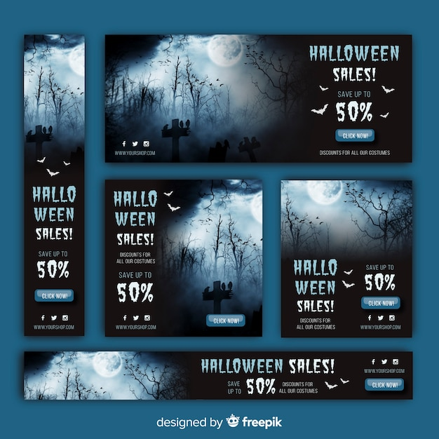 Halloween web sale banner pack Free Vector