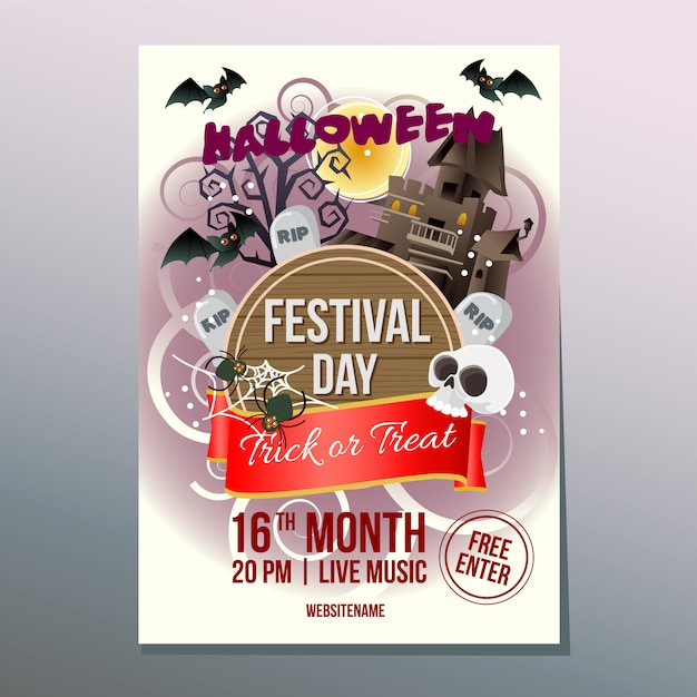 Halloween week festival day poster with haunted house Premium Vector