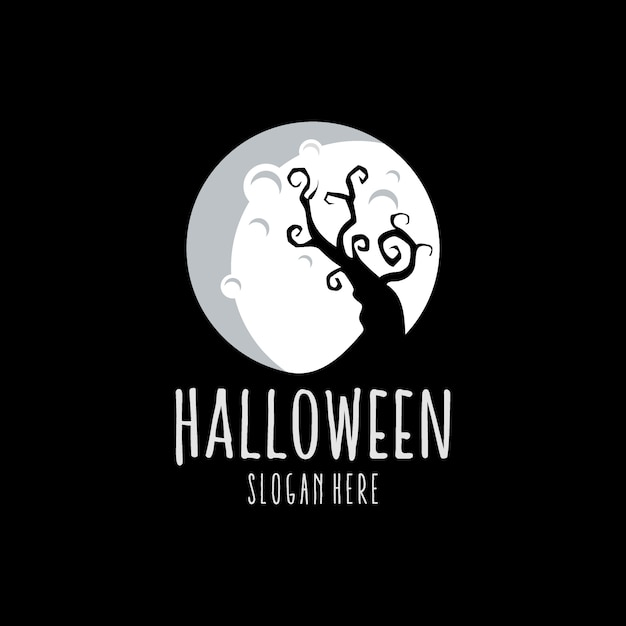 Halloween white logo Premium Vector