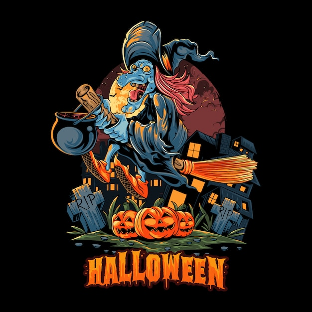 Halloween witch flies with a broom over the pile of halloween pumpkins and carries a pot full of poison. editable layers artwork Premium Vector