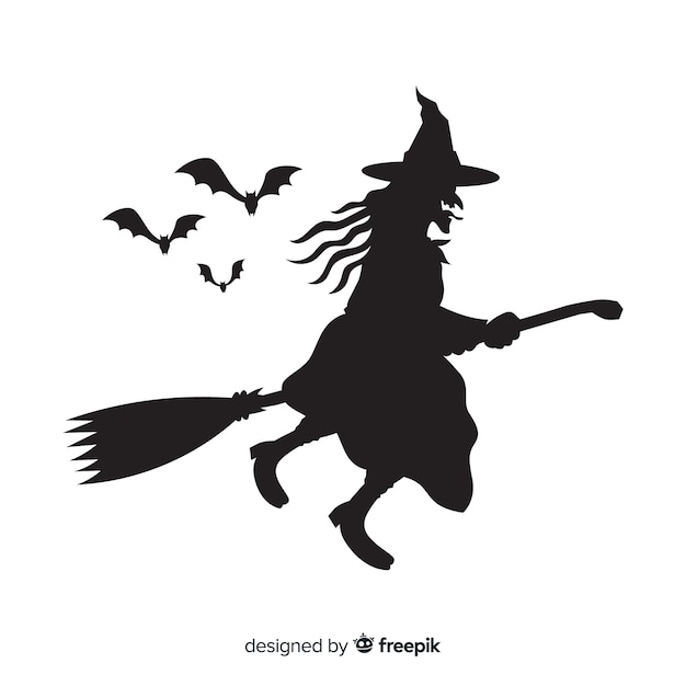 Halloween witch silhuette Free Vector