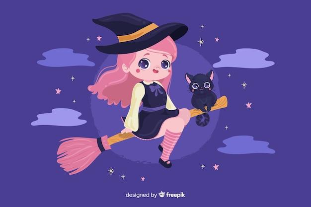 Strega di halloween con simpatico gatto Vettore gratuito