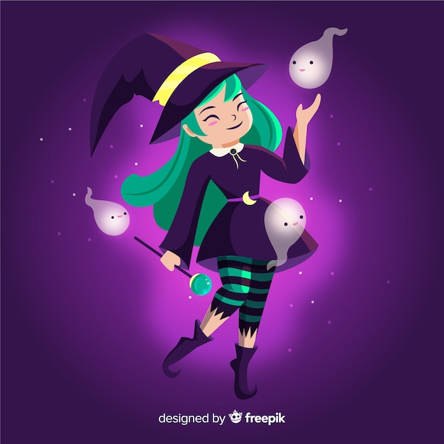 Halloween witch with green hair and cute ghosts Free Vector