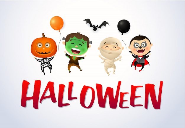 Halloween with happy kids wearing monsters costumes Free Vector