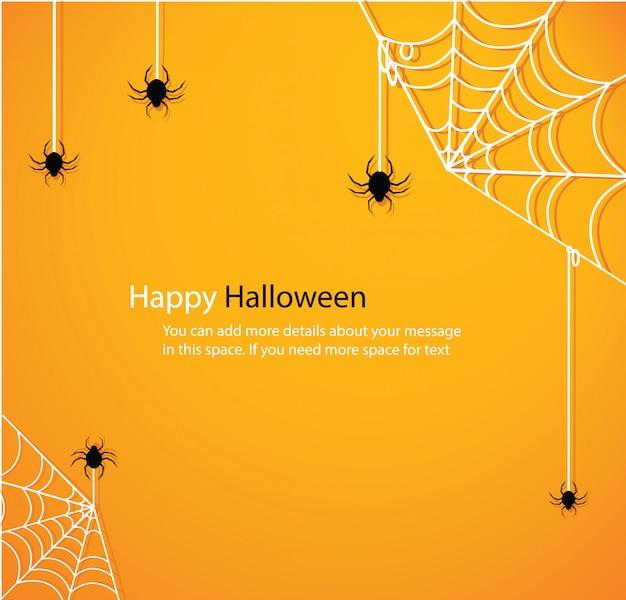 Halloween with spider web yellow background vector Premium Vector