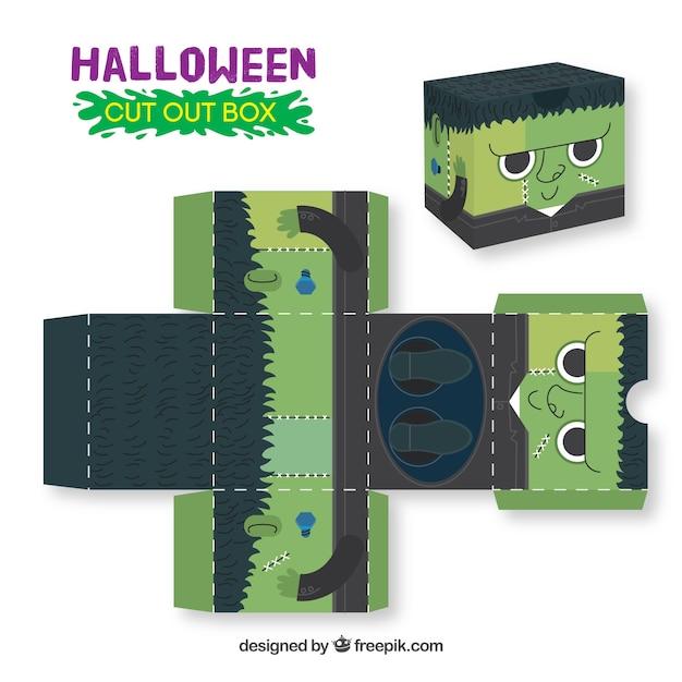 Halloween zombie cutout box Free Vector