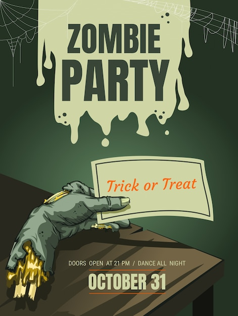 Halloween zombie hand party poster background template Premium Vector