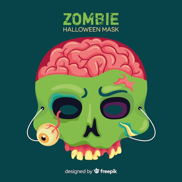 Halloween zombie mask in flat design Free Vector