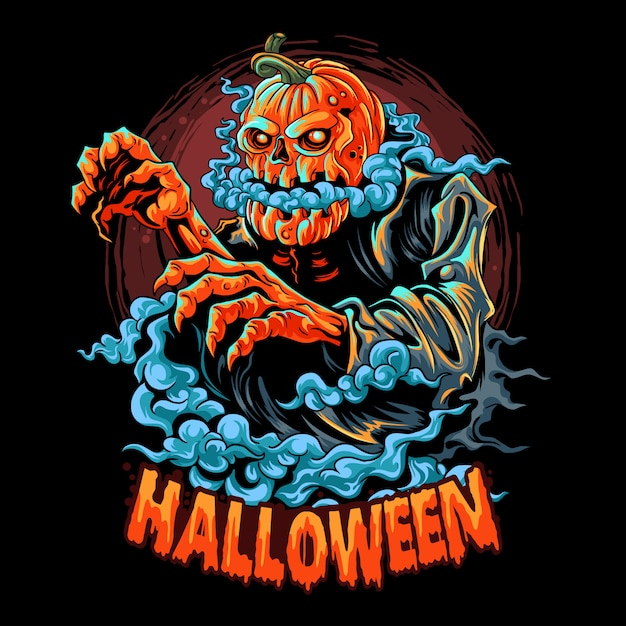 A halloween zombie with a pumpkin head filled with smoke coming out of its mouth. editable layers artwork Premium Vector