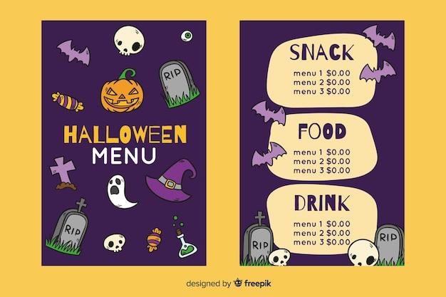 Нарисованный рукой шаблон меню ночи halloween Бесплатные векторы