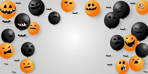 Halloweencollection воздушные шары страшные и забавные светящиеся лица тыквы или привидения. Premium векторы