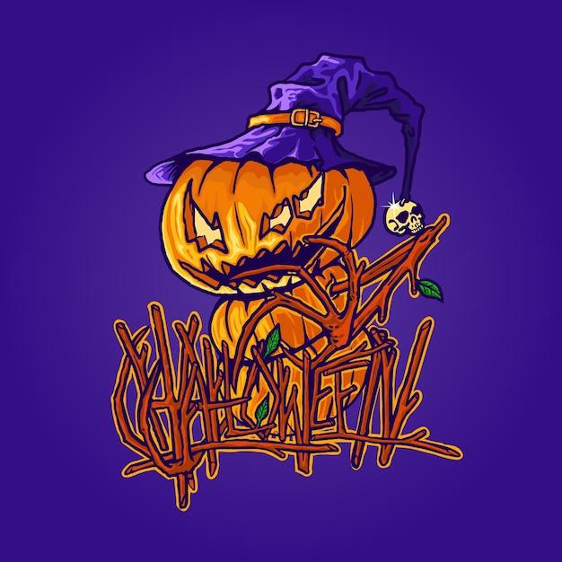 Хэллоуин тыква ведьма иллюстрация Premium векторы