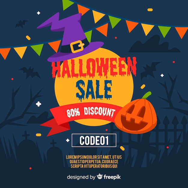 Hallowen sale with discount in flat design Free Vector