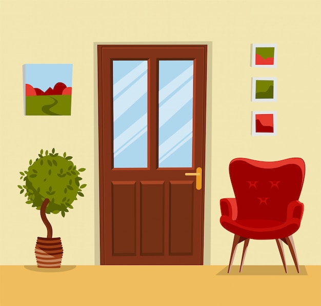 Hallway interior with furniture. Premium Vector