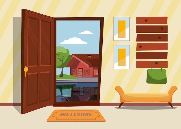 Hallway interior with open door , coat rack with lady bag. green trees and country house outside. sunny summer weather. Premium Vector