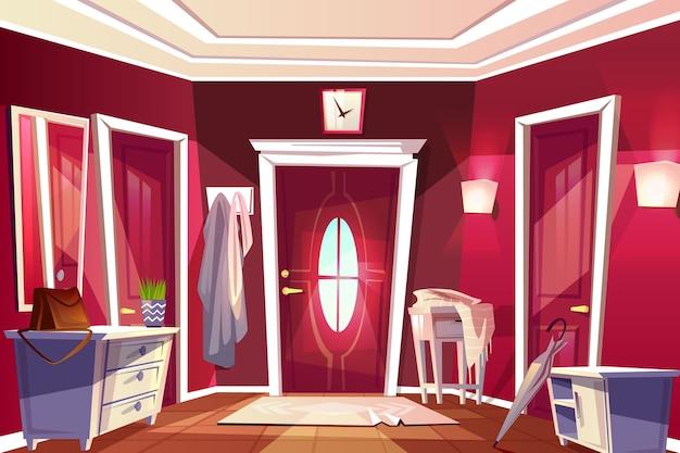 Hallway room or corridor interior illustration of retro or modern apartment Free Vector