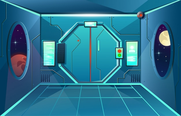 Hallway in spaceship with porthole and camera . futuristic interior room with door for games and applications Premium Vector