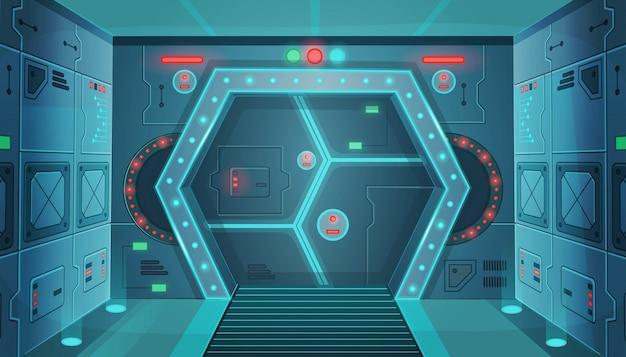 Прихожая с дверью в космическом корабле. мультфильм фон интерьер комнаты научно-фантастического космического корабля. фон для игр и мобильных приложений. Premium векторы