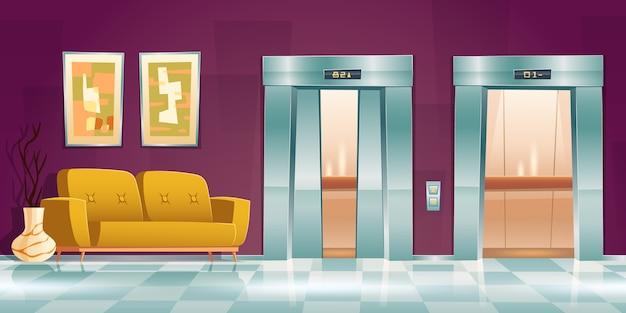 엘리베이터 문이있는 복도, 소파가있는 빈 로비 내부, 약간 열려 있고 엘리베이터 문이 열립니다. 승객 캐빈, 버튼 패널 및 바닥 표시 기가있는 사무실 또는 호텔, 만화 그림 무료 벡터