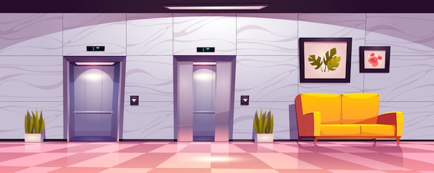 엘리베이터 문이있는 복도, 소파가있는 빈 로비 내부, 약간 열려 있고 엘리베이터 문이 열립니다. 무료 벡터