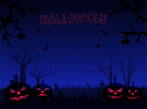 Haloween pumkins on the ground and flying bat Premium Vector
