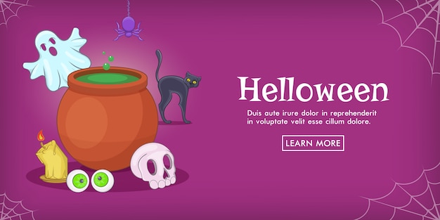 Haloween spooky horizontal background , cartoon style Premium Vector