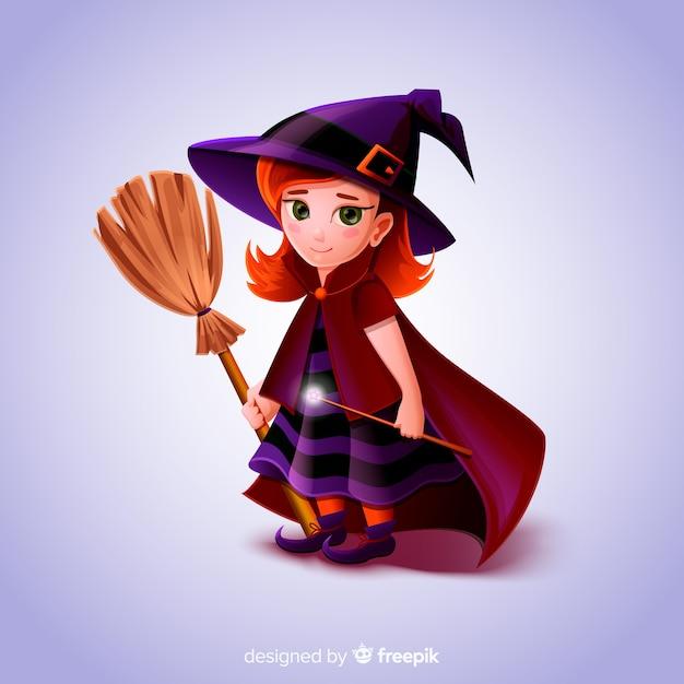 Реалистичный мультфильм ведьма haloween Бесплатные векторы