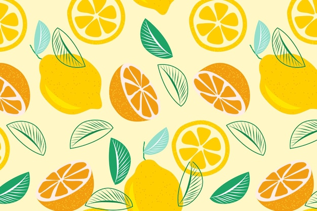 Halves of citrus fruit seamless pattern Free Vector