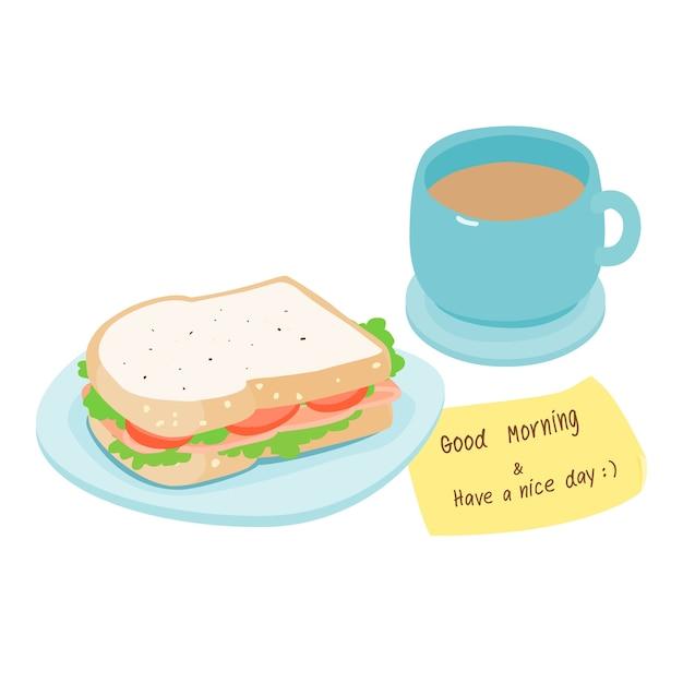 Ham sandwich and hot coffee Premium Vector
