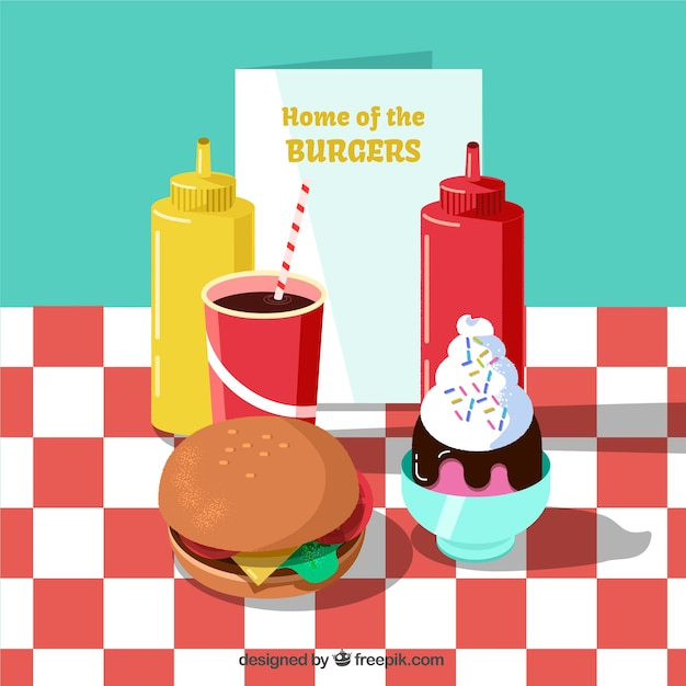Hamburger background with delicious food in flat design