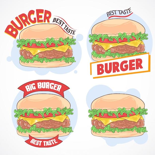 Hamburger fast food set Premium Vector