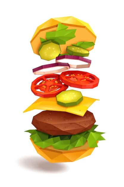 Hamburger flying ingredients Free Vector