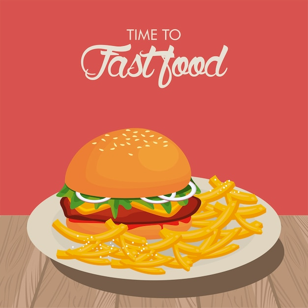 Hamburger and french fries in dish delicious fast food  illustration Premium Vector