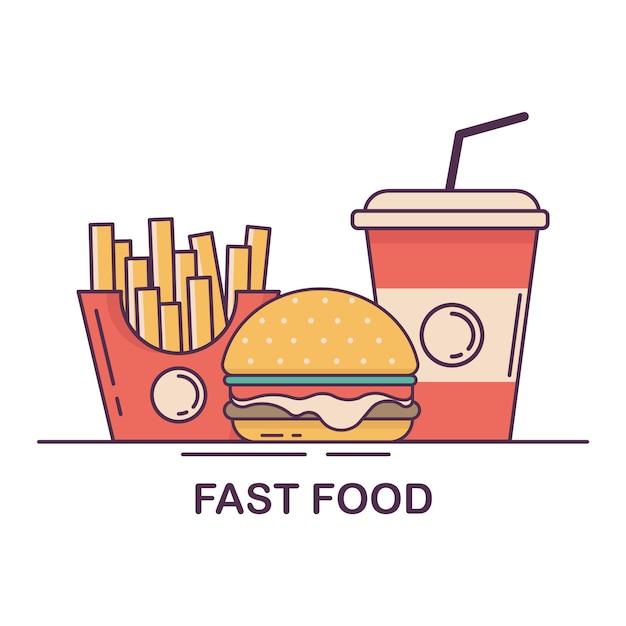 Hamburger, french fries and soda. fast food flat design vector illustration. Premium Vector