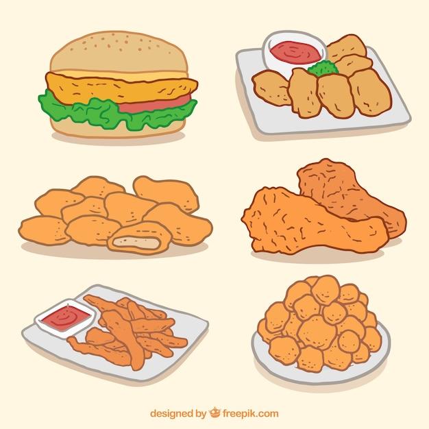 Hamburger and hand-drawn fried chicken Free Vector