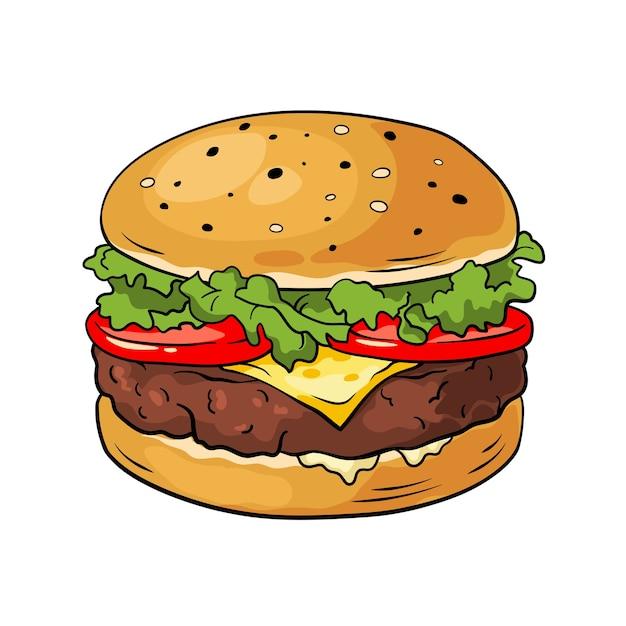 ハンバーガー。手描きイラスト Premiumベクター